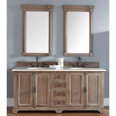 James Martin Furniture Providence Double Vanity with Galala Beige Marble Top in Driftwood