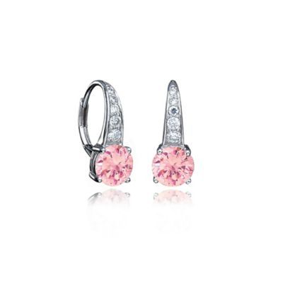 CRISLU Platinum-Plated Sterling Silver 5mm Rose Cubic Zirconia Round Drop Earrings