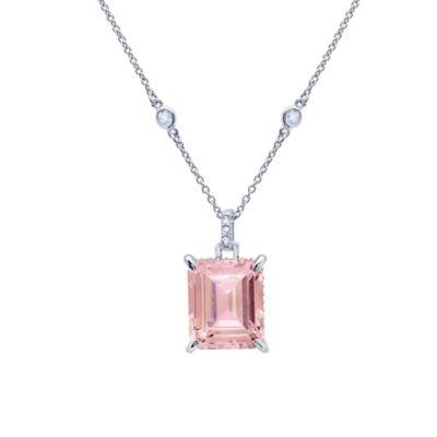 CRISLU Platinum-Plated Rose and White Cubic Zirconia Emerald Cut 16-Inch Chain Pendant Necklace