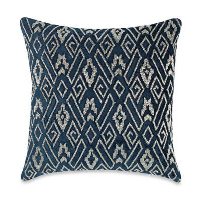 Callisto Home Velvet Plush Beaded Square Throw Pillow in Navy/Silver