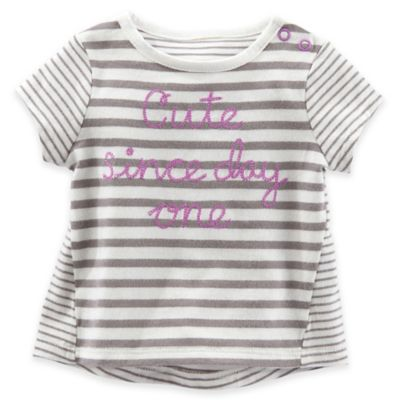 "baby B'gosh® Size 12M ""Cute Since Day One"" Striped T-Shirt in Grey/Lilac"