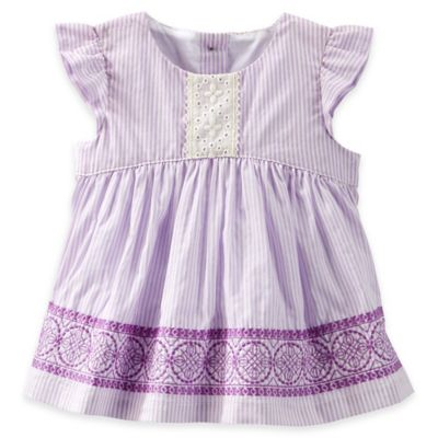 baby B'gosh Size 12M Embroidered Flutter Sleeve Eyelet Top in Lilac