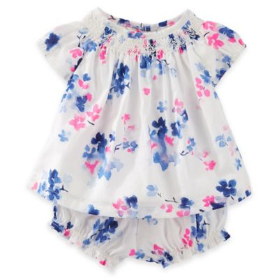 baby B'gosh® Size 3M 2-Piece Smocked Floral Romper and Diaper Cover Set in Multicolor