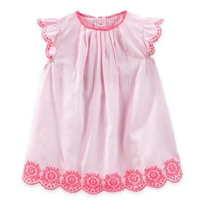 baby B'gosh® Size 12M 2-Piece Embroidered Striped Dress and Diaper Cover Set in Pink