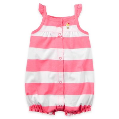 carter's® Newborn Flutter Sleeve Ice Cream Striped Snap-Up Romper in Pink/White