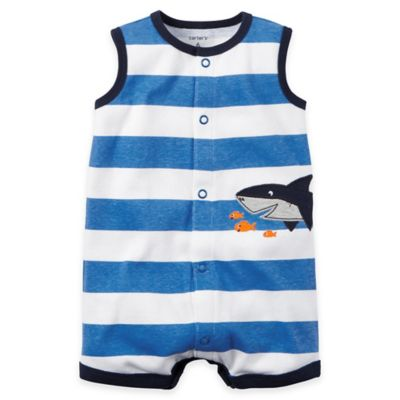carter's® Size 6M Snap-Up Sleeveless Shark Romper in Blue