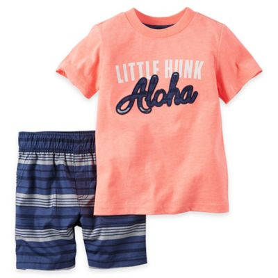 "carter's® Size 18M 2-Piece ""Little Hunk Aloha"" Shirt and Short Set in Neon"