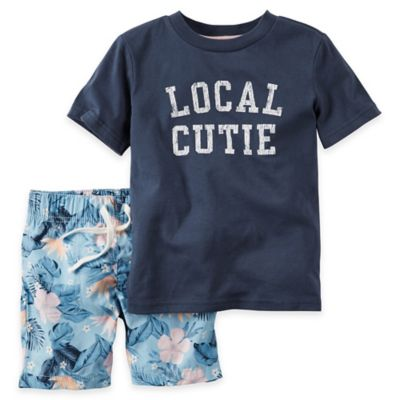 "carter's® Newborn 2-Piece ""Local Cutie"" Shirt and Short Set in Navy"