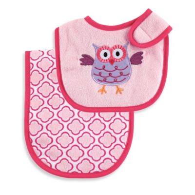 BabyVision® Luvable Friends® Pink Owl Bib & Burp Cloth