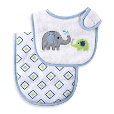 BabyVision® Luvable Friends® 2-Piece Blue Elephant Bib and Burp Cloth Set