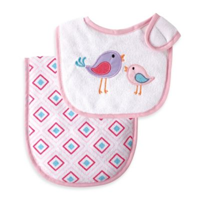 BabyVision® Luvable Friends® 2-Piece Pink Birds Bib and Burp Cloth Set