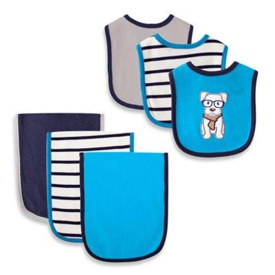 BabyVision® Hudson Baby® 6-Piece Dog Bib and Burb Cloth Set