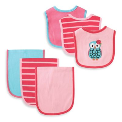 BabyVision® Hudson Baby® 6-Piece Owl Bib and Burp Cloth Set