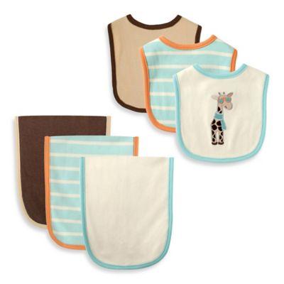 BabyVision® Hudson Baby® 6-Piece Giraffe Bib and Burp Cloth Set