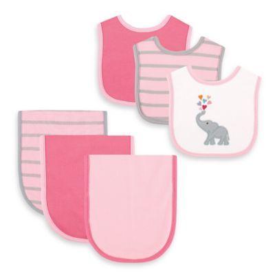 BabyVision® Hudson Baby® 6-Piece Elephant Bib and Burp Cloth Set