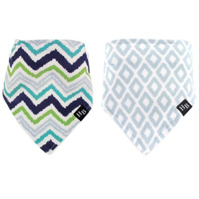 BabyVision® Hudson Baby® 2-Pack Chevron Bandana Bib with Teether Set