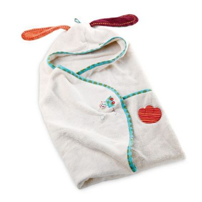 Haba Toys Jef Baby Bath Towel and Washcloth Mitt Set in White
