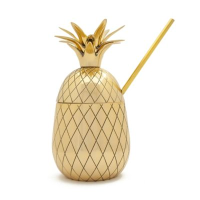 The Pineapple Co. Pineapple 2-Piece Large Tumbler with Straw in Gold