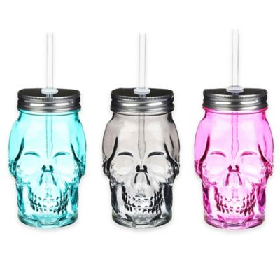 Formations Skull Shaped Mason Jar with Straw in Turquoise