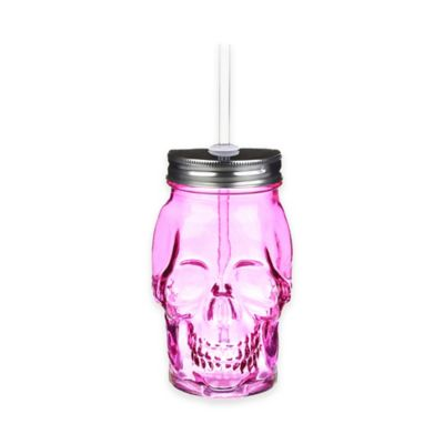 Formations Skull Shaped Mason Jar with Straw in Pink