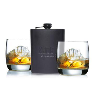 Arc International 3-Piece Knob Creek Kentucky Bourbon Whiskey Flask Set
