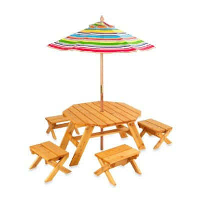 KidKraft®Octagon Table & 4-Stool Set With Umbrella