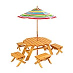 Octagon Table & 4-Stool Set With Umbrella