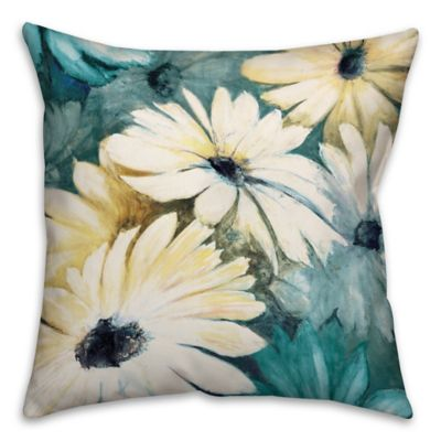 Daisies 16-Inch Square Throw Pillow in Green/Yellow
