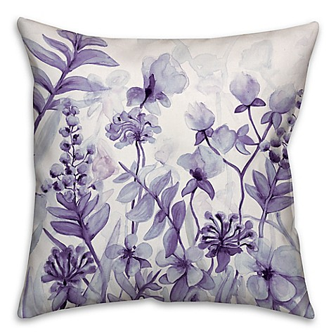 Buy Flower Dream 16-Inch Square Throw Pillow in Purple from Bed Bath & Beyond
