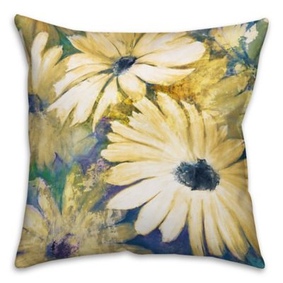 Daisies 16-Inch Square Throw Pillow in Yellow