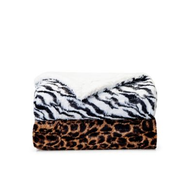 VCNY Animal Faux Fur Throw Blanket in Brown