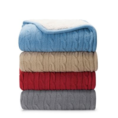 VCNY Denali Sweater Knit Sherpa Throw Blanket in Blue