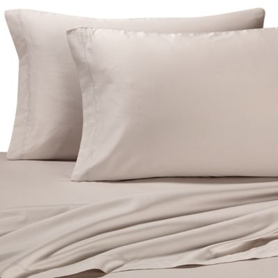 Vera Wang Home Bamboo Leaves Queen Sheet Set in Grey Putty