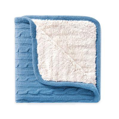 VCNY Denali Sweater Knit Sherpa Throw Blanket in Blue