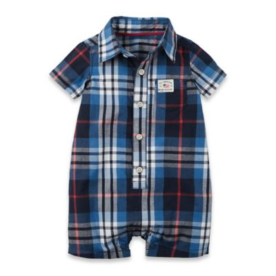 carter's Newborn Plaid Short Sleeve Shortalls