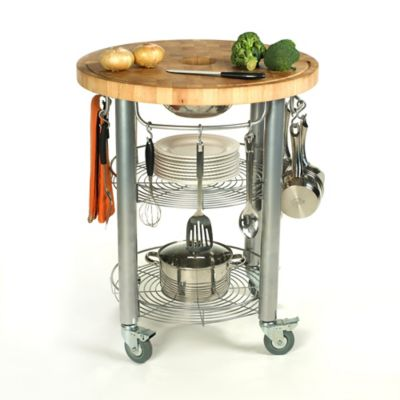 "Chris & Chris Stadium 30"" Round Kitchen Rolling Work Station"