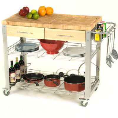 Chris & Chris Stadium 38-Inch Rolling Kitchen Work Station