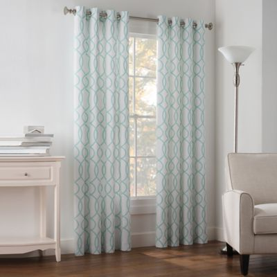 Newport Wave 63-Inch Light-Filtering Grommet Top Window Curtain Panel in Pool Blue