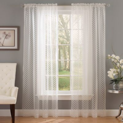 Waverly® Framework 84-Inch Rod Pocket Sheer Window Curtain Panel in Ivory