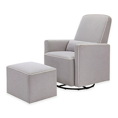 Davinci Olive Upholstered Swivel Glider And Ottoman In