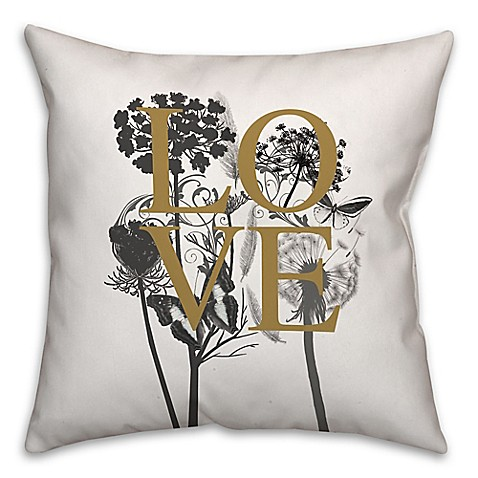Black Throw Pillows Bed Bath And Beyond : Buy Love Nature 18-Inch Square Throw Pillow in Ivory/Black from Bed Bath & Beyond