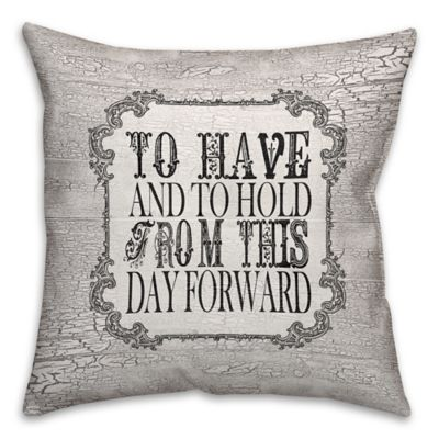 """""""To Have And To Hold... """" 16-Inch Square Throw Pillow in Black/White"""