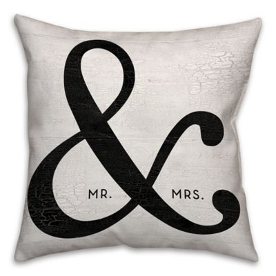 """""""Mr. & Mrs."""" Ampersand 16-Inch Square Throw Pillow in Black"""