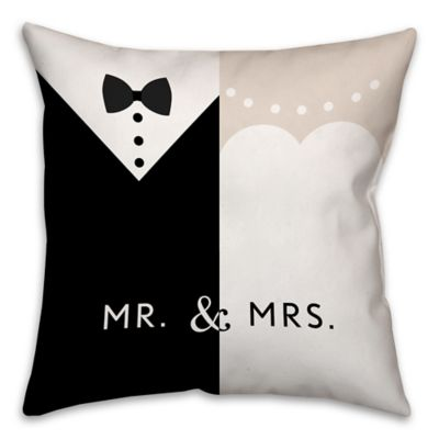 """""""Mr. and Mrs."""" Dress 16-Inch Throw Pillow in Black/White"""