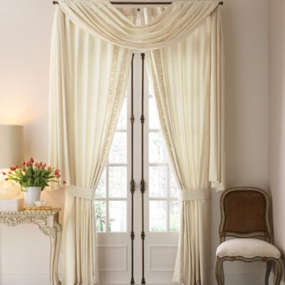 Croscill Couture® Hepburn Scarf Window Curtain Valance in Ivory