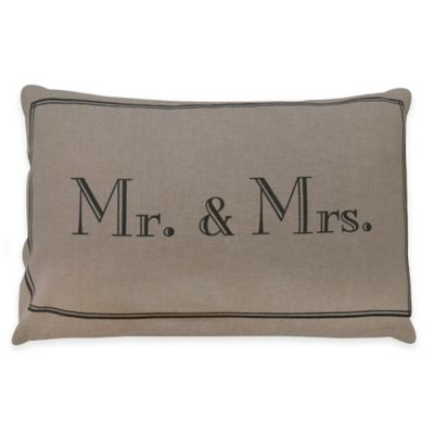 """Park B. Smith® The Vintage House """"Mr. & Mrs."""" Oblong Throw Pillow in Linen"""