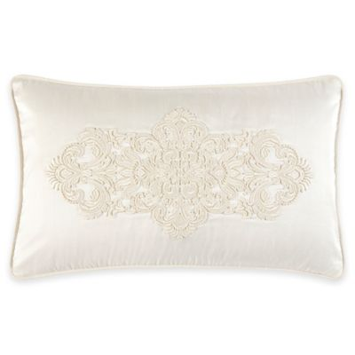 Croscill Couture® Hepburn Embroidered Oblong Throw Pillow in Ivory