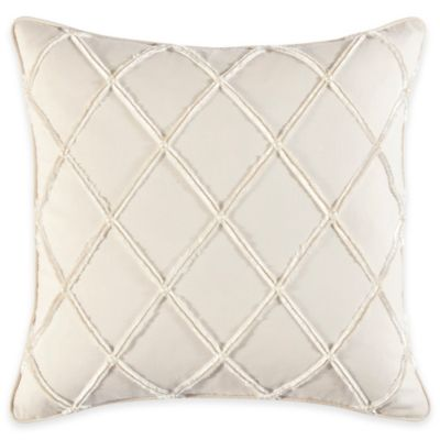 Croscill Couture® Hepburn Pintucked Diamond Throw Pillow in Ivory