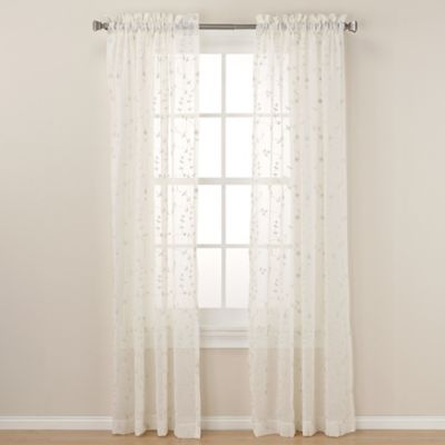 Caspia 63-Inch Rod Pocket Sheer Window Curtain Panel in Ivory