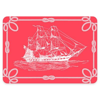 The Softer Side by Weather Guard™ 18-Inch x 27-Inch Nautical Ship Kitchen Mat in Navy/White
